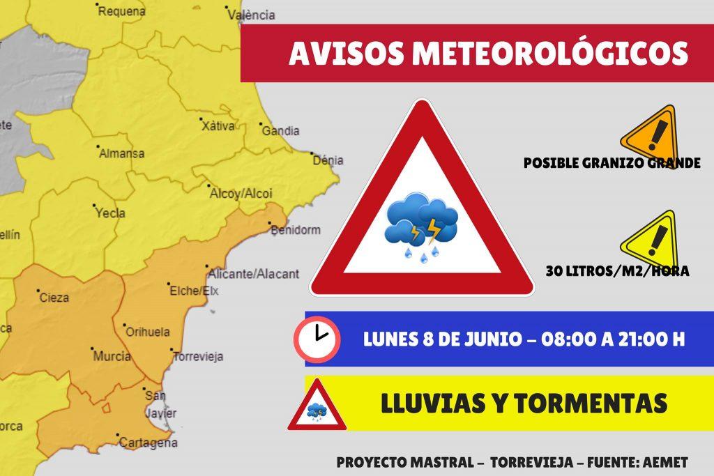varning för regn och hagel